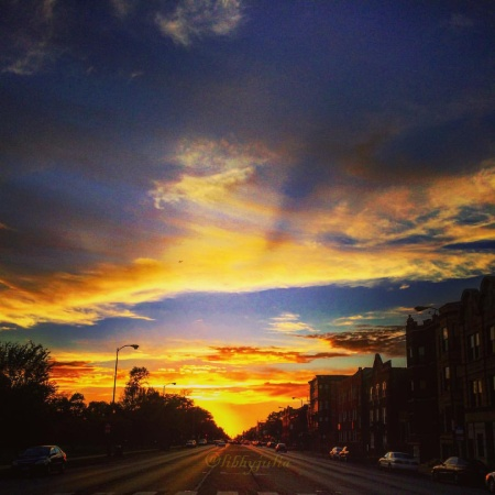 sunset in humboldt park chicago